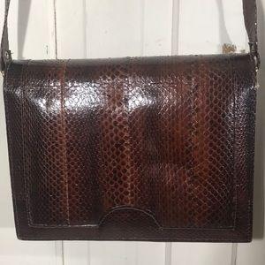 Handbags - VINTAGE GENUINE SNAKE SKIN brown crossbody bag